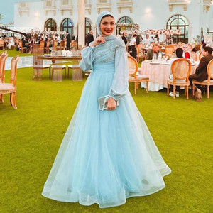 Light Sky Blue Lace Muslim Prom Dresses With Long Sleeves A Line Tulle Evening Gowns Luxury Arab Formal Party Evening Gowns