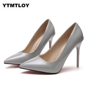 Плюс размер 34-44 горячая Женская обувь острым носом насосы лакированная кожа платье высокие каблуки лодка обувь свадебные туфли Zapatos Mujer Белый
