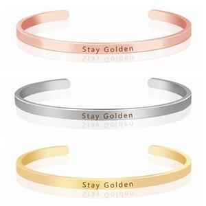 Soulglass cadeau pour ses bijoux de mode inspirée de charme pour Hommes Femmes Gravé Bracelet Stay or