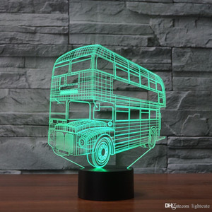 Doppeldeckerbus 3D-Illusion Nachtlicht-Touch 7 Farbwechsel Home Decor Baby-Jungen-LED-Lampe-Kind-Geschenk Weihnachtsweihnachtsgeschenke