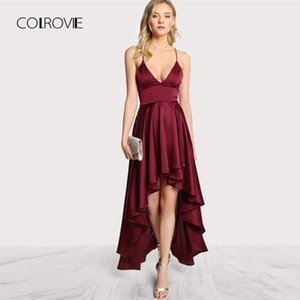 Colrovie Party Dress Deep V Neck Spaghetti Strap Sleeveless Maxi Dress Asimmetrico Crisscross Backless High Low Cami Dress Y19051001