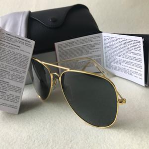 Nueva marca con piloto gafas de sol para mujeres de los hombres al Aire Libre Gafas de sol Gafas de Brown del oro 58mm 62mm lentes de cristal de 18 colores con casos