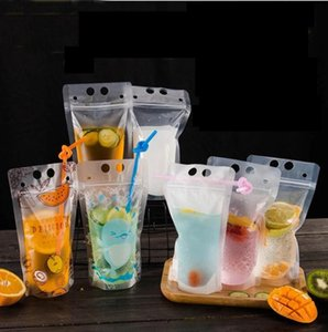 Boisson givré Sacs Pochettes Stand-up Sac Boire en plastique avec paille boisson de jus de fruits thé au lait liquide Sac KKA6875