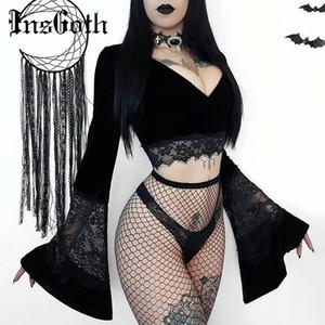 InsGoth donne sexy Bassiera Flare a maniche lunghe in pizzo scava fuori T-shirt nera Gothic Retro aderente femminile con scollo a V Top Elegante Top Y200109