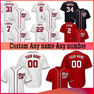 Personalizados Washington 7 Trea Turner Nacionales 31 MAX SCHERZER 22 JUAN SOTO 6 ANTHONY RENDON 34 Bryce Harper jerseys de béisbol
