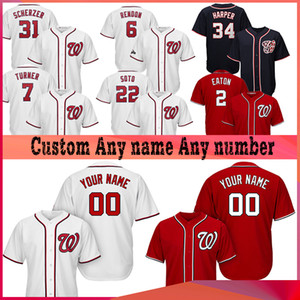 Personnalisées Washington 7 Trea Turner Nationaux 31 MAX SCHERZER 22 JUAN SOTO 6 ANTHONY RENDON 34 Bryce Harper Baseball Jerseys