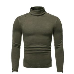 Loch Panelled Herren Designer Pullover Mode schlanke Turtle Neck Männer Pullover-beiläufige lange Hülsen-Männer Kleidung