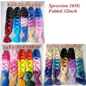 L Xpression Braiding Hair Synthetic Ombre Hair 165g Folded 32inch Three Tone Color Kanekalon Jumbo Crochet Braids Twist Hair Extensions