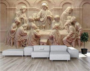 مخصص جدارية خلفية 3d لينة 3d ستيريو العشاء الأخير النحت الفاخرة ورق الحائط فندق غرفة المعيشة التلفزيون خلفية الجداريات دي باريد 3d