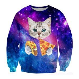 Новейшая мода смешно Galaxy Space Pizza Cat Harajuku Мужчины / Женщины смешно 3D печатных толстовка стиль мода повседневная спортивный костюм пуловеры B410