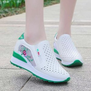 Women Comfortable Casual Shoes Summer Slip on Loafers Mixed Colors Hollow Out Increasing Internal Height Sneakers