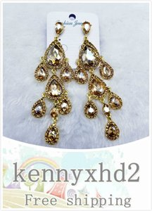 Hot selling new crystal glass with diamond long water drop earrings for banquet and all kinds of earrings