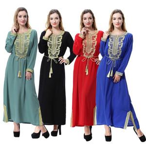 Women S-3XL Linen Embroidery Patch Half Sleeve Muslim Maxi Islamic Dress Moroccan Clothing Arab Robes Kaftan Jilbab Dubai Abaya