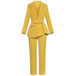 Yeni Sonbahar Kadın Moda Setleri Yatak açma Yaka Açık Dikiş Düzensiz Ceket + Düz Pantolon Mizaç Suit 2018