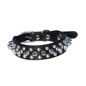 "Leather Spiked Studded Dog Collar 1"" Wide for Small X-Small Breeds and Puppies (Black, S: For Neck 6-8"")"