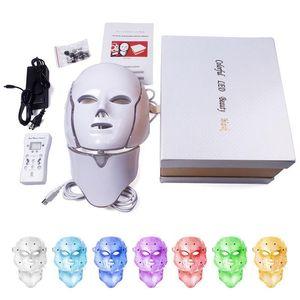 DHL доставка 7 цветов свет LED маска для лица с шеи омоложение кожи Уход за лицом лечение красоты Анти акне терапия отбеливание инструмент