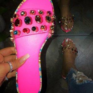 DHL Shippping Neon Rosy Snake Pattern Gem Slippers Women Outdoor Candy-colored Beach Sandals Summer New Bright Rhinestones Slides X300FZ