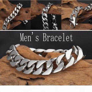 361L Stainless Steel Bracelet Silver Fashion Jewelry Link Chain Radiation Protection Hip Hop Bracelet Men Wristband Accessories Gift G825R F