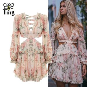 Tingfly Fashion Pink Designer Runway Dress femmes creux de volants Floral Print en mousseline de soie Mini robe Sexy Backless Deep V Neck Y19070801