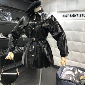 HAPEDY Printemps Automne 2020 New Bright PU de ceinture noué Accrocheur Designer en cuir vêtement mi-long manteau femmes Mode PU veste