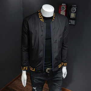 Desgaste 2019 Otoño Hombre Minimalismo chaqueta de cuello blusas de Béisbol Juvenil delgada capa de la manera floja-Hombre guapo y exquisito