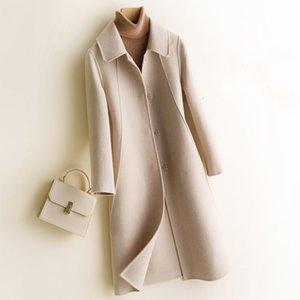 2019 Automne et hiver manteau double face pur cachemire femme Veste Costume long laine en vrac COU pur Cardigan couleur