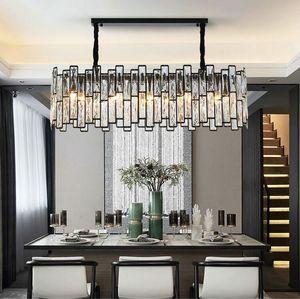 Nuovo lampadario nero postmoderno Illuminazione Rettangolo Sala da pranzo Isola cucina Lampade a LED Lampade a sospensione in cristallo MYY