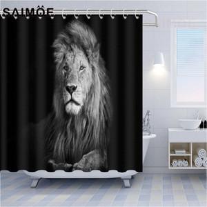 3D Cartoon Dhower rideau noir Cheval Motif rideau de douche de haute qualité Salle de rideau Thème des animaux Salle de bain Décoration écran