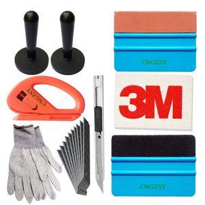 Magnet gants de couteau d'art squeegee en laine Porte coupe fenêtre véhicules Wrap Film Outils d'installation d'application Kit K39