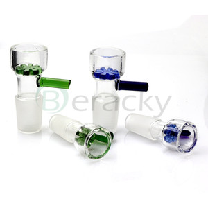 Tigelas de vidro de corrediça Tigela de filtro colorida de floco de neve com tela de favo de mel 14mm 18mm
