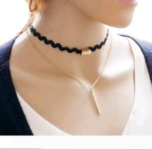 Personality Simple Metal Strip Black Lace braided Double Layers Collars bone Chain Choker Necklace for Women
