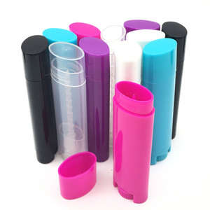 100pcs / lot DIY 4,5 ml botella vacía del lápiz labial Lip Gloss Lip Balm tubo tubo del recipiente con el casquillo colorido de la muestra cosmética oval plana de contenedores