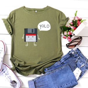 Женская футболка Cross-Border Womens популярные женские топы Vintage Printed Pattern круглый вырез Большой хлопок с короткими рукавами футболки оптом