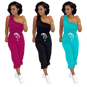 2020 New Plus Size Women's Set Casual Solid One Shoulder Sleeveless Tee and Pants Sportwear Tracksuit Two Piece Set Outfit