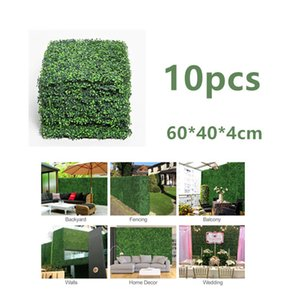 10PCS 60 * 40CM 인공 헤지 TILE LAWN GRASS MAT UV-PROOF 신록 PLANT SCREEN PANEL 벽