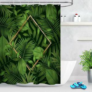 Hojas tropicales de hojas impermeables de tela a prueba de ducha conjunto ganchos de baño personalizado