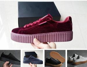 Женская Rihanna Riri Fental Platform Creeper Velvet Pack Burgundy черный серый цвет бренда женские классические повседневные туфли 36-39