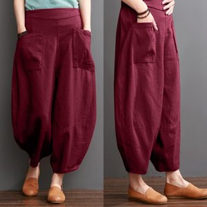 Plus Size Womens Summer Trousers ZANZEA 2020 Vintage Wide Leg Pants Elastic Waist Solid Pantalon Female Cotton Casual Turnip