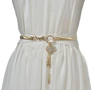 Nova diamante de metal elástico cinto elefante pingente embutimento decorativo cintura mola cadeia vestido correia pequena cintura