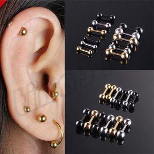 Fashion Mini Ear Nails Titanium Steel Dumbbell Bean Ball Ear Nails Uñas de oído decorativas T9C0075