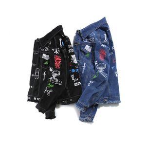 Mens Moda Denim Jackets Coats Hip Hop Graffiti estampado denim Casacos Jeans Primavera Outono Brasão Masculino Streetwear