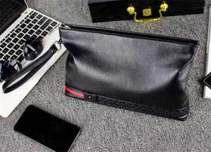 New Fashion Leather Clutch Bag Italy Designer Men Women Handbag Wallet Top Quality Lychee Texture Large Pures Zipper Black Square Wallets