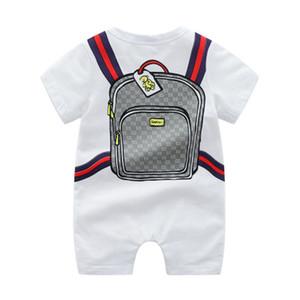 Romper bebé Nueva INS muchacho de la muchacha infantil de escalada 100% de impresión cartera de la historieta de manga corta de algodón del mameluco de los niños ocasional del diseñador de trajes de ropa