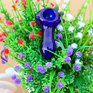 "about 3""inch glass tonacco pipe dark blue glass hand pipe tobacco spoon pipe little mini-"