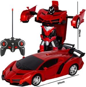 RC 2 en 1 transformateur Conduire Sport Modèle Véhicule Voiture Télécommande Deformation Robots Jouets enfants Jouets T32