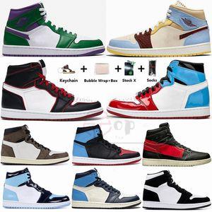 1s Incredible Hulks Travis scotts 1 Zapatillas de baloncesto Mid Fearless UNC Obsidian og desafiante couture Chicago Hombres Entrenadores Mujeres Deportes Sneaker
