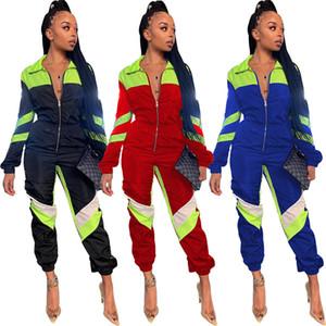 Femmes lambrissés Jumpsuits Barboteuses jogger costume gymnase sexy club automne vêtements d'hiver vêtements de sport à manches longues revers cou justaucorps en cours d'exécution 1827