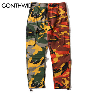GONTHWID Two-Tone Camo Pants Hip Hop Patchwork Camouflage Military Cargo Trouser Casual Cotton Multi Pockets Pant Streetwear T5190617