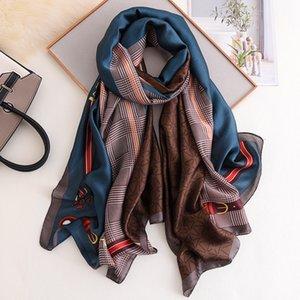 Natural Silk donne sciarpa di lusso Pashmina scialli e gli involucri femminili eleganti Beach protezione solare Stola Designer Seta Foulard Echarpe