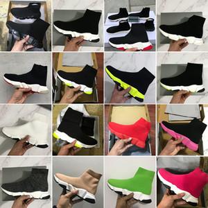 2020 Yeni Hız Eğitmen Moda Ayakkabılar Çorap Üst Kalite Üçlü Siyah Oreo Kırmızı Yeşil Düz Erkekler Kadınlar Günlük Ayakkabılar Spor ile Kutu Çanta